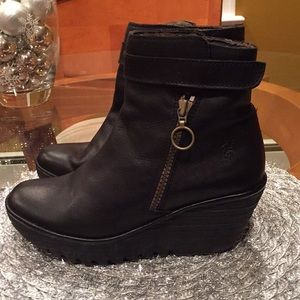 Fly London black leather ankle boots
